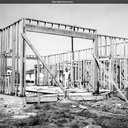 Framing is underway. West Side Firehouse, Santa Cruz, California c.1954.