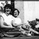 "Norma enjoying the sun with Beverly Herbert. The Vance and Herbert families set up a ""writer"