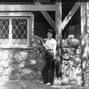 Progress at Valley View. Norma helps with the front of the house. Oakland, California c.1955