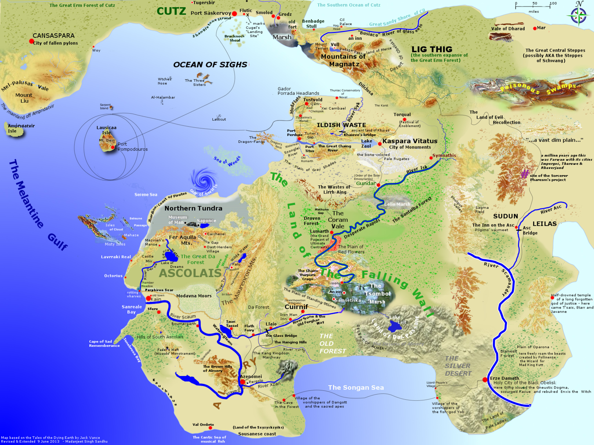 Jack Vance Website Fan Contributions - The map of earth